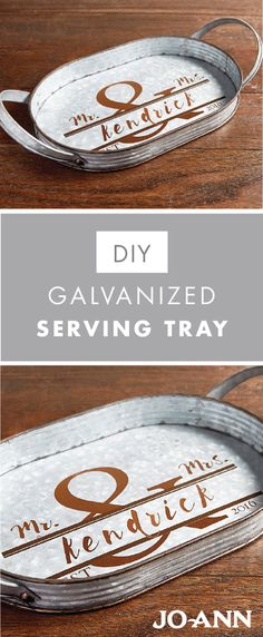 Looking to add something personalized and thoughtful to the wedding gift you're planning? Check out this DIY Galvanized Serving Tray craft idea from Jo-Ann! This handmade decoration would also make a great addition to wedding reception decor.
