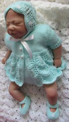 """knitting pattern for baby 0-3 mths or reborn doll 20-22"""""""