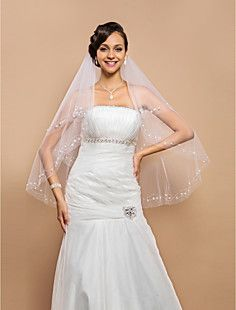 Amazing Two-tier Fingertip Wedding Veil With Beaded Edge And... – USD $ 32.19