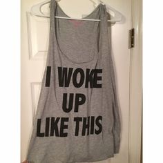"""I WOKE UP LIKE THIS"" tank Really cute and comfortable ""I WOKE UP LIKE THIS"" thank with racer back! Deb Tops Tank Tops"