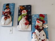 Patchwork navidad country new ideas Felt Christmas, Christmas Snowman, Christmas Stockings, Christmas Wreaths, Christmas Crafts, Snowman Wreath, Snowman Crafts, Jack Frost, Diy And Crafts