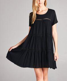 Love this Black Peekaboo Short-Sleeve Dress on #zulily! #zulilyfinds