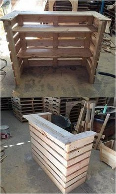 Latest furnishing items from old shipping pallets - Paletten Ideen - Design Rattan Furniture Pallet Counter, Wood Pallet Bar, Diy Pallet Sofa, Diy Pallet Projects, Wood Wood, Pallet Headboards, Pallet Benches, Pallet Tables, Wooden Pallet Ideas