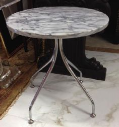 "Italian Mid-Century Modern round marble table on splayed chrome legs. 20"" diameter, 19"" tall. SOLD"