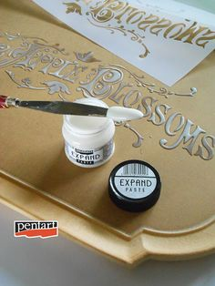 Pentart dekor: Vintage kínáló tálca Expand (felfúvódó) pasztával Mixed Media Art, Decoupage, Stencils, Wax, Vintage, Tutorials, Inspiration, Creative, Biblical Inspiration