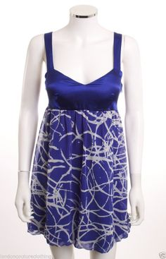 KAREN ARNOLD STRAPS SWEETHEART NECK EMPIRE ROYAL BLUE & WHITE BUBBLE DRESS SZ M