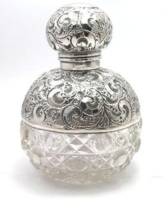 exquisite antique large solid silver domed and hobnail cut glass scent bottle…