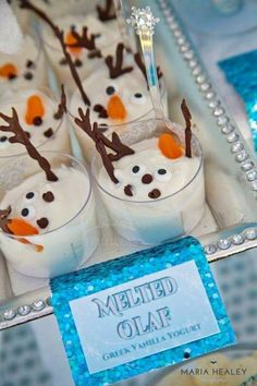 Melted Olaf dessert including yoghurt Idea for #frozen party. More ideas at www.pinterest.com/mybabygiraffe
