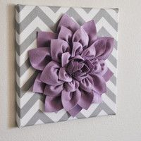 "Wall Flower -Lilac Dahlia on Gray and White Chevron 12 x12"" Canvas Wall Art- Baby Nursery Wall Decor-"
