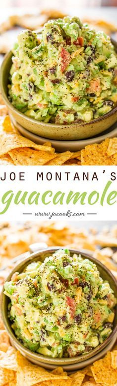Joe Montana's Touchdown Guacamole - Truly the best guacamole I've ever had, just amazing. Bold delicious flavors, just what you need to enjoy the game. Guacamole Recipe, Avocado Recipes, Guacamole Dip, Salad Recipes, Healthy Snacks, Healthy Eating, Healthy Recipes, Simple Recipes, Delicious Recipes