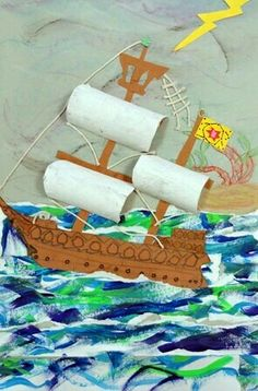 """Use tp rolls cut in half for sails or other curved forms on top of painting. """"From exhibit 'Explorer Ships in Warm or Cool Color Schemes' by cute craft for talk like a pirate day, pirate themed party or even Columbus day. Kids Crafts, Arts And Crafts, School Art Projects, Projects For Kids, Arte Elemental, Pirate Crafts, 4th Grade Art, Ecole Art, Art Lessons Elementary"""