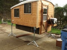 Camper now off trailer Build A Camper, Truck Bed Camper, Mini Camper, Diy Roof Top Tent, Diy Tent, Tiny Trailers, Camper Trailers, Minivan Camper Conversion, School Bus Camper