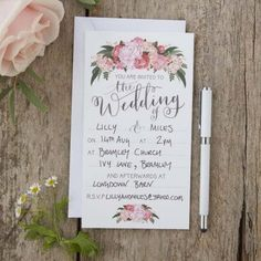 Ginger Ray Boho Floral Wedding Day Invitations Invites x 10 With Envelopes Wedding Reception Invitations, Bohemian Wedding Invitations, Rustic Invitations, Wedding Stationery, Boho Wedding, Rustic Wedding, Wedding Planner, Invitation Floral, Invitation Ideas