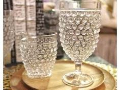 Hobnail glass oh so lovely.
