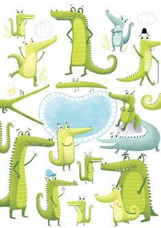 crocodile on Behance Crocodile Illustration, Beach Illustration, Children's Book Illustration, Character Illustration, Watercolor Illustration, Ink Illustrations, Animal Drawings, Cute Art, Illustrators
