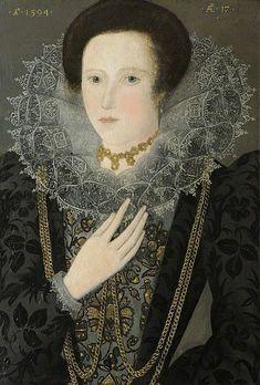 1594.Dorothy Huddleston,née Dormer, (born 1577),aged 17.Formerly attributed to Nicholas Hilliard (1547-1619) oil on canvas,St Edmund's College, Cambridge,Huddleston Collection.