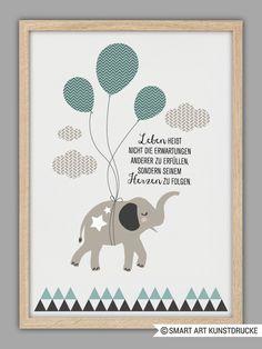 """""""SEI DU SELBST"""" Kunstdruck, Geschenk, Elefant von Smart-Art Kunstdrucke auf DaWanda.com"""