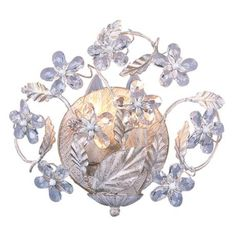 "Cut Crystal Flowers 10 3/4"" Wide Bathroom Wall Sconce -"