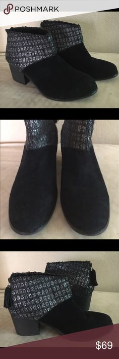 NWOT suede and textile TOMS booties Worn only to try on. Back zipper with tassel detail. Stacked heel. No damage or defects. TOMS Shoes Ankle Boots & Booties