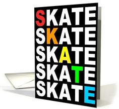 skate type stacks party invitations card