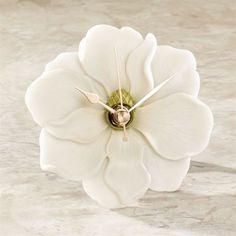 Magnolia Flower Tabletop Accent Clock