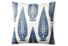 Shalimar 20x20 Cotton Pillow, Blue/White