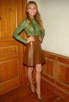 Blake Lively tried another take on the trend choosing a head to toe leather ensemble, as she left a photo shoot in L.A. - Badmademoiselle