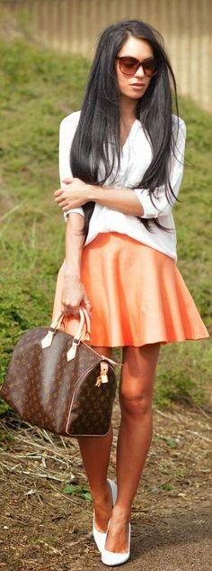 Pretty Little Thing Tangerine Pleated High Waisted Skater Skirt