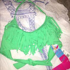 Tassel top bikini swimsuit Bright green!! Halter top with tassels, light padding. Never been worn. Medium, but runs small. Swim Bikinis