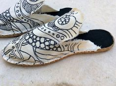 mule espadrilles, handmade and painted
