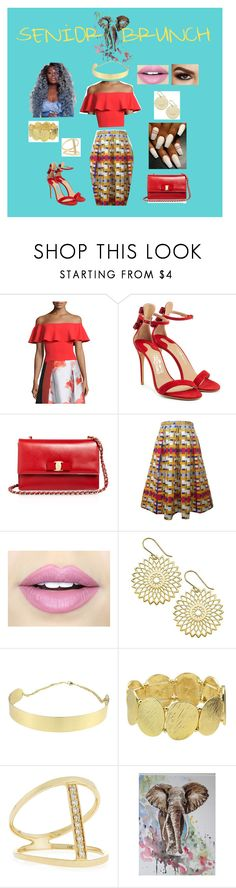 """Senior Brunch 2017"" by moonchildlee ❤ liked on Polyvore featuring Sachin + Babi, Salvatore Ferragamo, Fiebiger, Sydney Evan and Aquarelle"