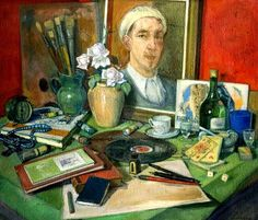 Savely Sorin (1887-1953) Russian Portrait Painter ~ Still Life with the Artist's Desk and Self Portrait, 1923