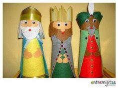 Reyes Magos de carton y fieltro