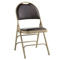 CLOSEOUT - 4 PACK Samsonite Comfort Series Bonded Leather Folding Chair - Beige/Chocolate