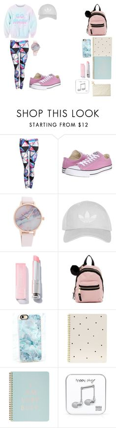 """""""Pastel set"""" by emobandmeme ❤ liked on Polyvore featuring Pilot, Converse, Topshop, Madden Girl, Casetify, Sugar Paper, ban.do, Happy Plugs and Kate Spade"""