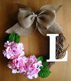Spring Wreath with Monogram and Pink Hydrangeas, Initial Wreath, Valentine Wreath, Grapevine Wreath, Monogram Wreath, Easter Wreath, on Etsy, $47.00