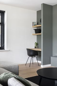 "Lifs interieuradvies & styling www.nl Foto: Denise Keus – ""Stijlvol Wonen""- Sanoma Regional Belgium N. Office Nook, Home Office Space, Home Office Design, Home Office Decor, My Living Room, Small Living, Casa Kids, Study Room Decor, Home Desk"