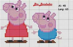Gráfico Peppa Pig e George Pig Plastic Canvas Pattern Disney Crochet Patterns, Baby Afghan Crochet Patterns, Baby Cardigan Knitting Pattern Free, Knitting Charts, Knitting Patterns Free, Cross Stitch For Kids, Cross Stitch Baby, Cross Stitch Designs, Cross Stitch Patterns