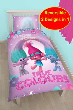Dreamworks Trolls Glow Single Duvet Quilt Cover Set Girls Pink Kids Bedroom