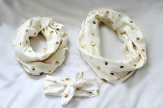 Cozy and Fashionable Gold Dot Infinity Scarves with matching Top Knot Headband. $10.  #babyshowergift #mommyandmescarves #golddotscarf