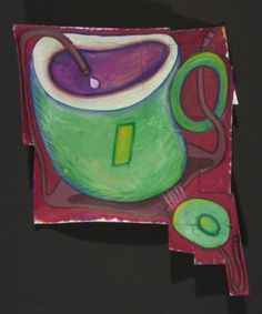 Vogel 50x50: Green Cup - Brown Table