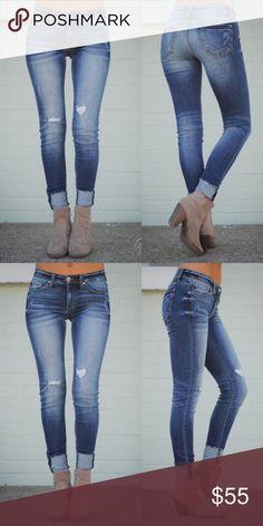 04ad62dfc06 ALUNA Cuff Skinny Jeans Cute cuff ankle skinny jeans 76% cotton