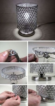3 cheap and simple useful ideas: lampshades made of metal .- 3 billige und einfache nützliche Ideen: Lampenschirme aus Metall Jugendstil kle… 3 cheap and simple useful ideas: lampshades made of metal Art Nouveau small lamps … - Soda Tab Crafts, Can Tab Crafts, Diy And Crafts, Crafts Cheap, Small Lamp Shades, Small Lamps, Home Crafts, Diy Home Decor, Lampe Decoration