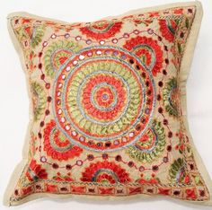 Traditional Indian embroidered cushion cover traditional pillows