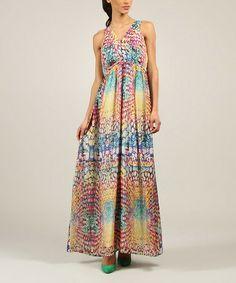 Look at this #zulilyfind! Blue & Pink Abstract Surplice Dress by Kushi by Jasko #zulilyfinds