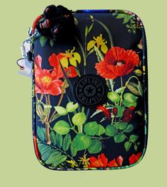 Kipling 100 Pens Floral Frond Black Red Yellow Green Nylon Cosmetic Art Case Bag #ZipAround