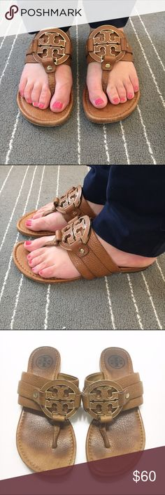 Tory Burch sandals ⚠️ 70% OFF ORIGINAL PRICE GUC Tory Burch leather sandals. Double-T logo. Cushioned leather footbed. Size women's 6. Has toe prints and some wear on bottom but looks great on and has lots of wear in them! Tory Burch Shoes Sandals