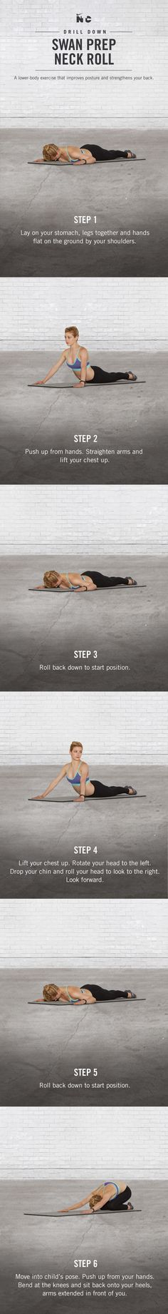 Improve posture and strengthen your back with Swan Prep and Neck Rolls in Gracie Gold's Core Strength workout on Nike+ Training Club.