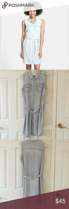 NORDSTROM HALOGEN SLEEVELESS DENIM SHIRT DRESS Worn once and dry cleaned. Only wore to my classes graduation. Still in dry cleaning shape. Soft and light weight. Sold out in stores. Just have too many dresses Halogen Dresses