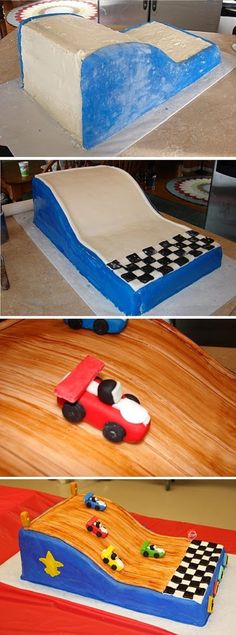 Race Car Cake. Thinking this would be good for a Scout cake with the car races.
